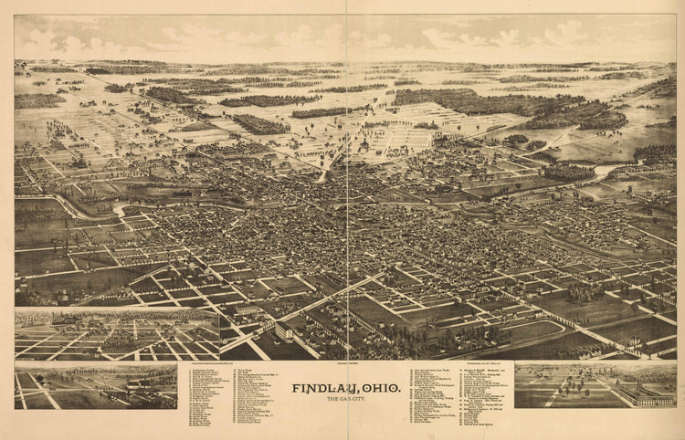 Historic Map - Findlay, OH - 1889