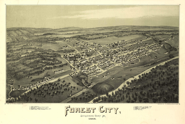 Historic Map - Forest City, PA - 1889