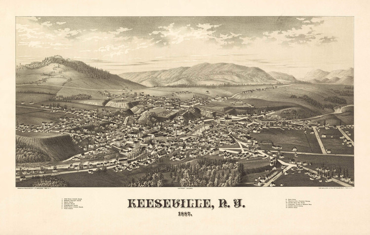 Historic Map - Keeseville, NY - 1887