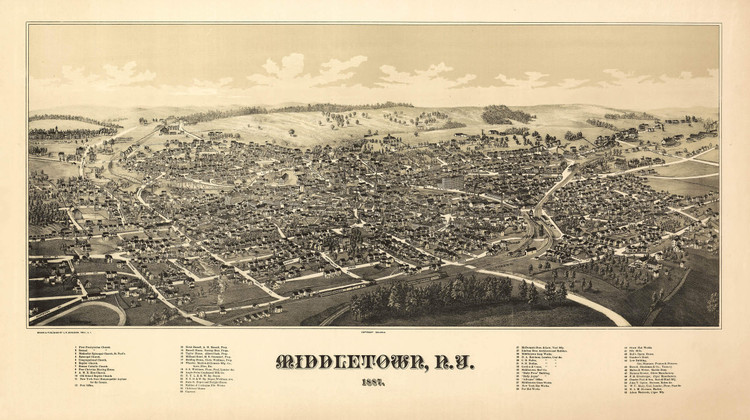 Historic Map - Middletown, NY - 1887
