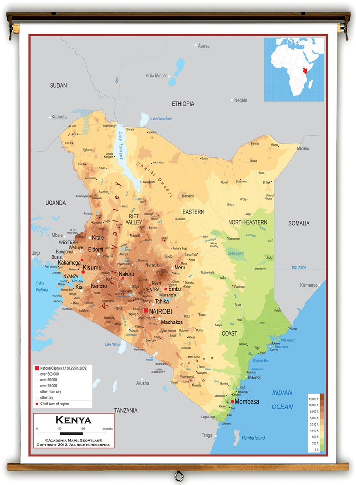 Kenya Physical Educational Map from Academia Maps