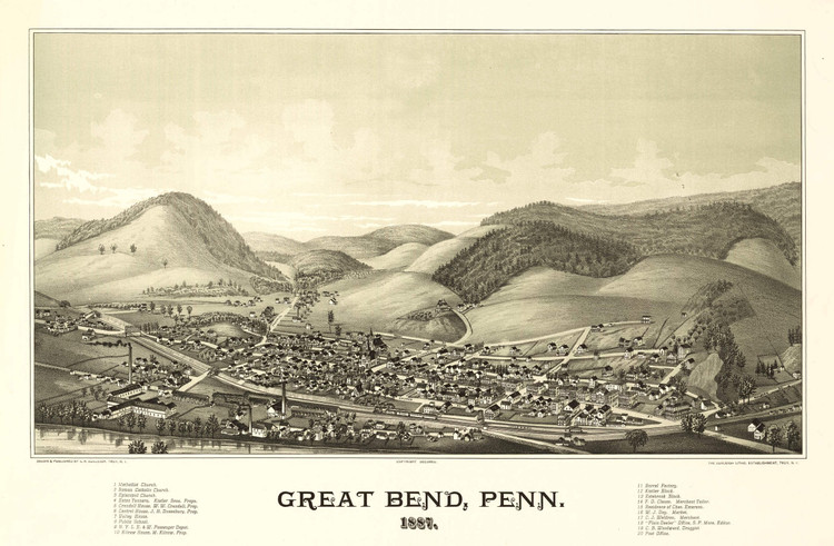 Historic Map - Great Bend, PA - 1887