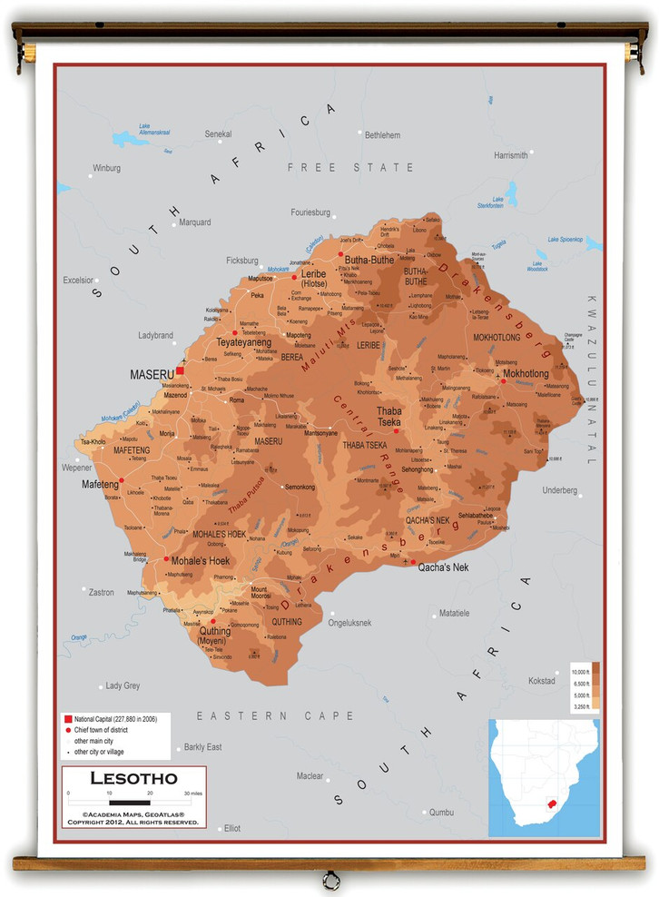 Lesotho Physical Educational Map from Academia Maps