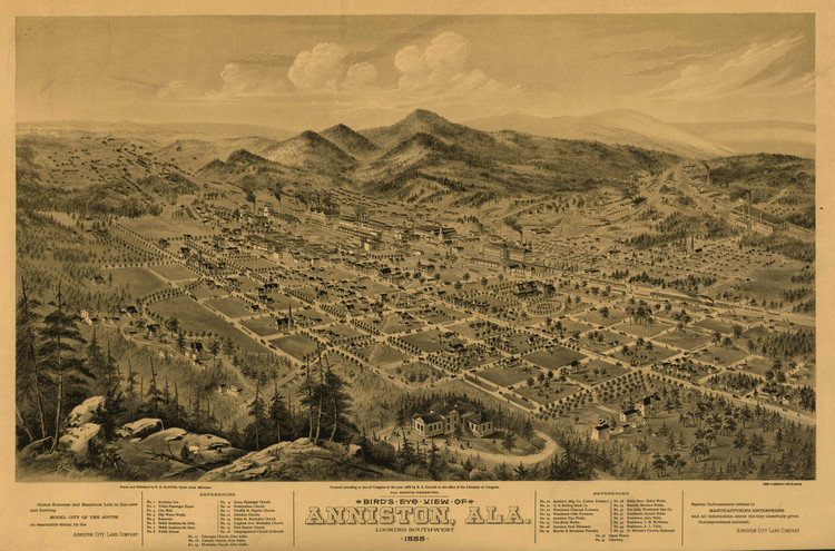 Historic Map - Anniston, AL - 1888