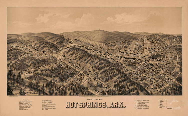 Historic Map - Hot Springs, AR - 1888