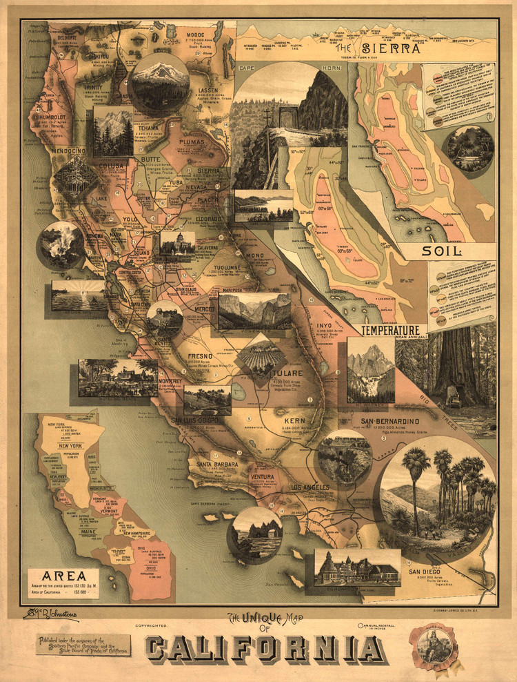 Historic Map - California State Map - 1888