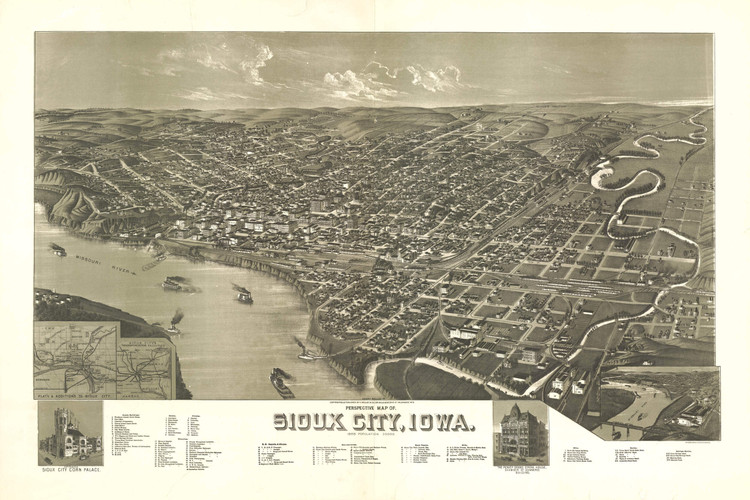 Historic Map - Sioux City, IA - 1888