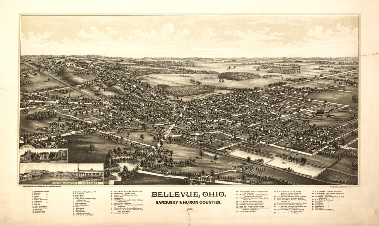 Historic Map - Bellevue, OH - 1888