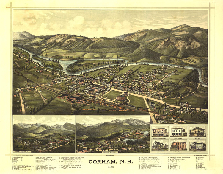 Historic Map - Gorham, NH - 1888