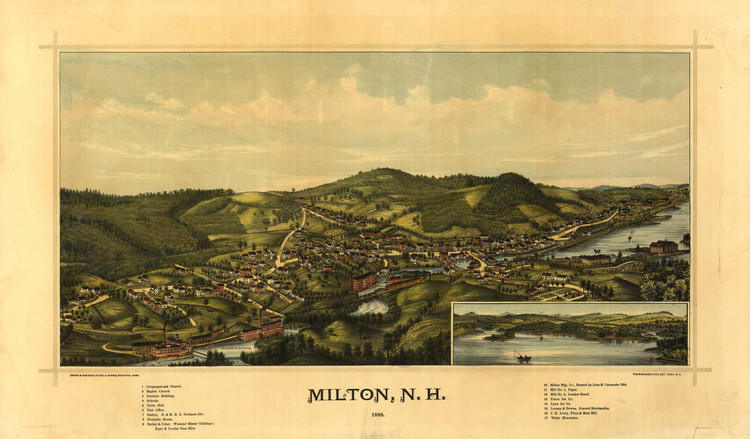 Historic Map - Milton, NH - 1888