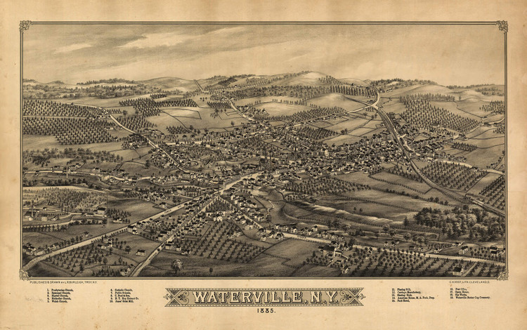Historic Map - Waterville, NY - 1885