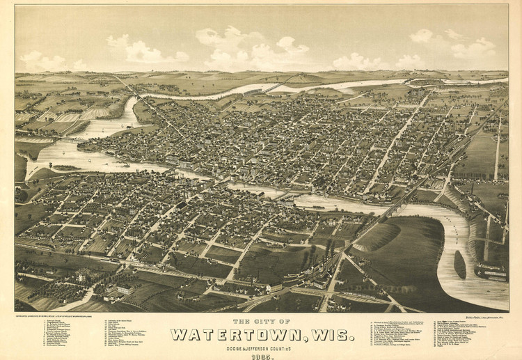 Historic Map - Watertown, WI - 1885