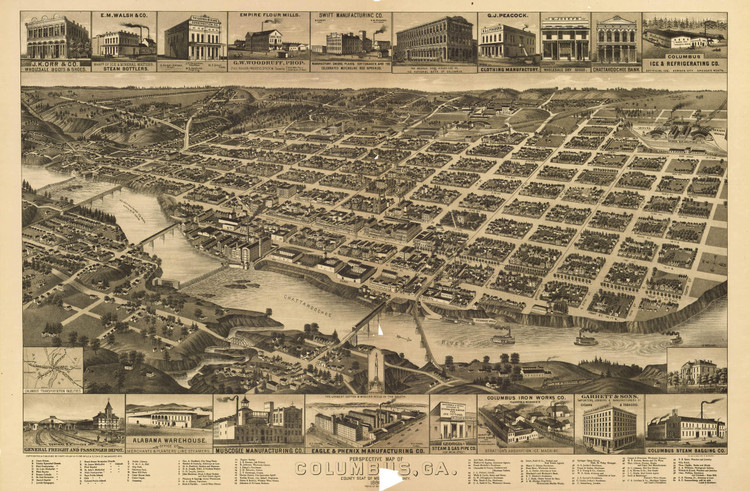 Historic Map - Columbus, GA - 1886