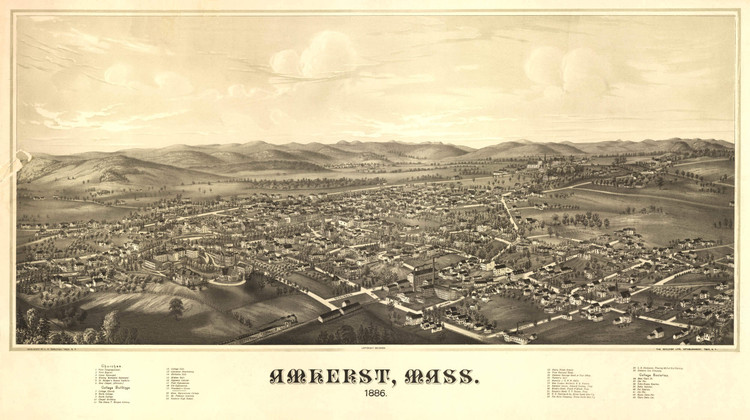 Historic Map - Amherst, MA - 1886