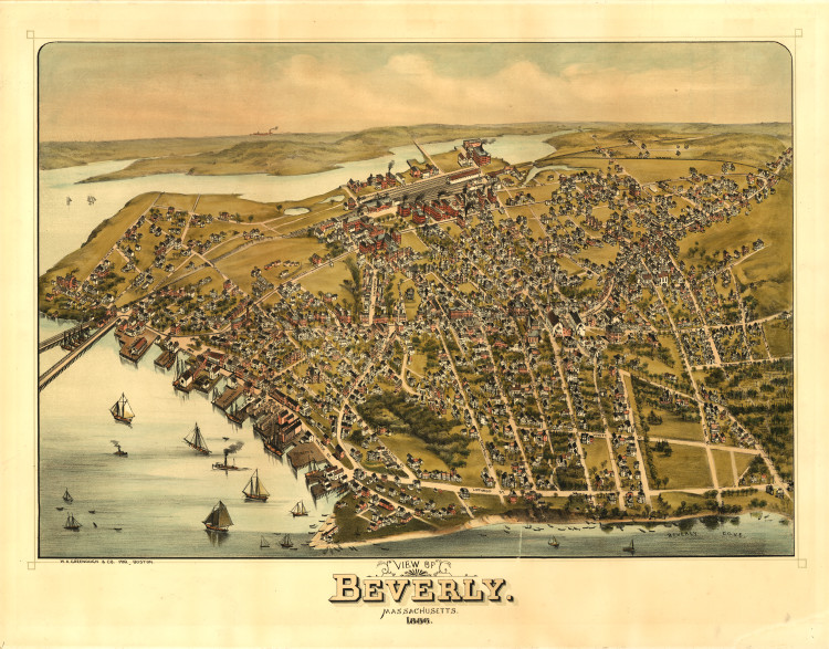 Historic Map - Beverly, MA - 1886