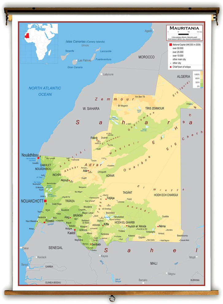 Mauritania Physical Educational Map from Academia Maps
