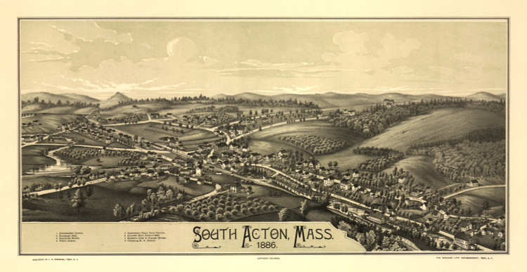 Historic Map - South Acton, MA - 1886
