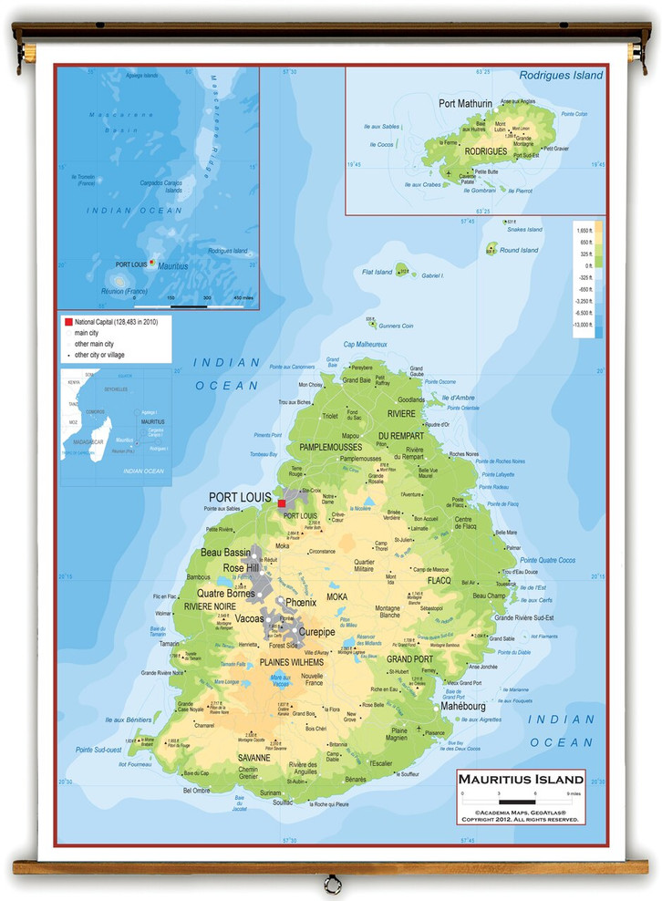 Mauritius Island Physical Educational Map from Academia Maps