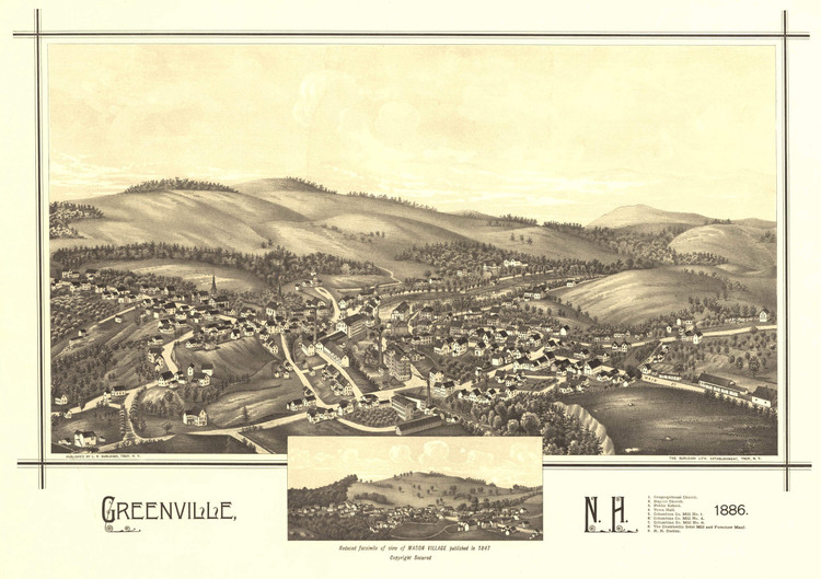 Historic Map - Greenville, NH - 1886