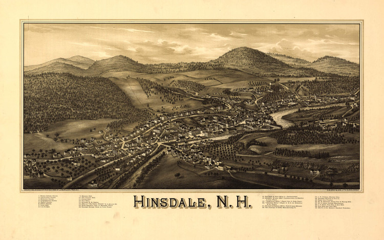 Historic Map - Hinsdale, NH - 1886