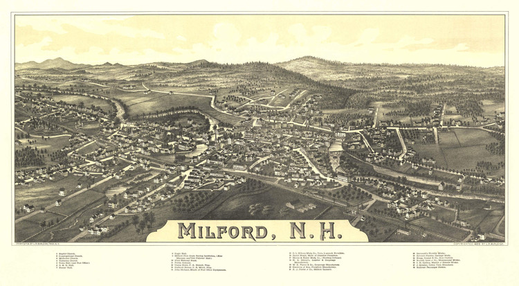 Historic Map - Milford, NH - 1886