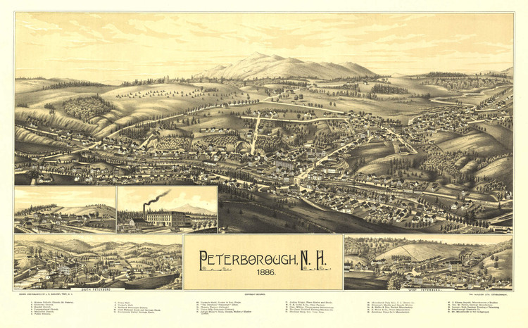 Historic Map - Peterborough, NH - 1886