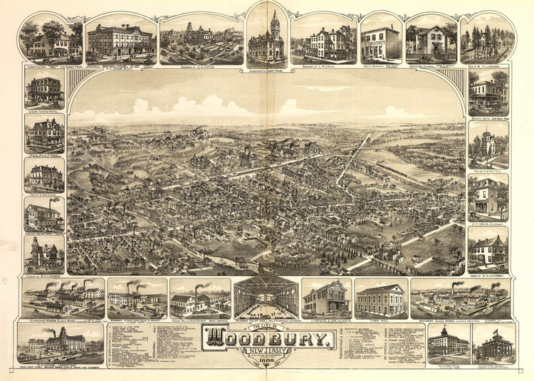 Historic Map - Woodbury, NJ - 1886