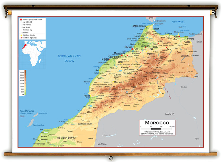 Morocco Physical Educational Map from Academia Maps