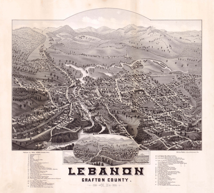 Historic Map - Lebanon, NH - 1884