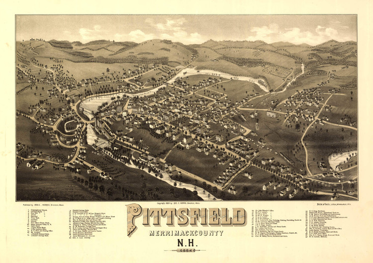 Historic Map - Pittsfield, NH - 1884
