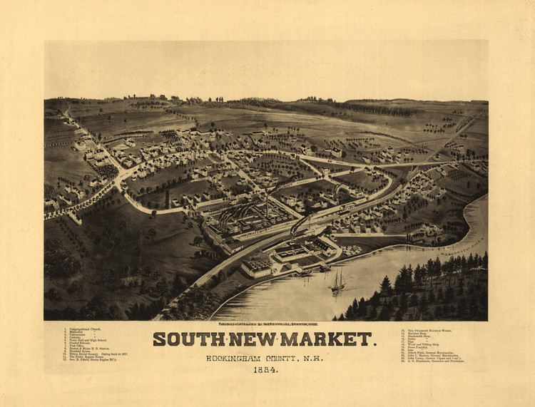 Historic Map - South Newmarket (Newfields), NH - 1884