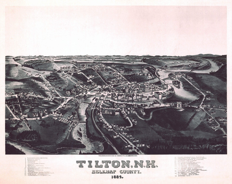 Historic Map - Tilton, NH - 1884