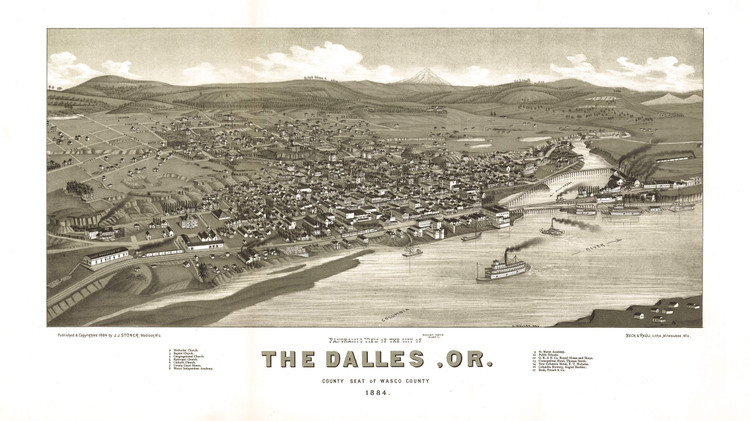 Historic Map - The Dalles, OR - 1884