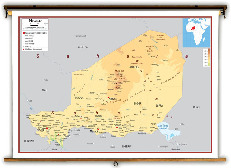 Niger Physical Educational Map from Academia Maps