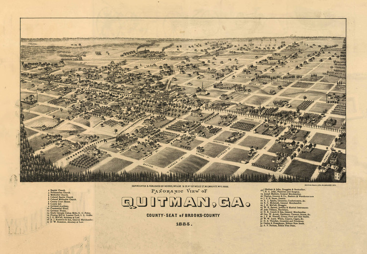Historic Map - Quitman, GA - 1885