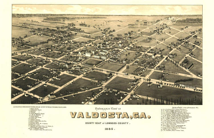 Historic Map - Valdosta, GA - 1885