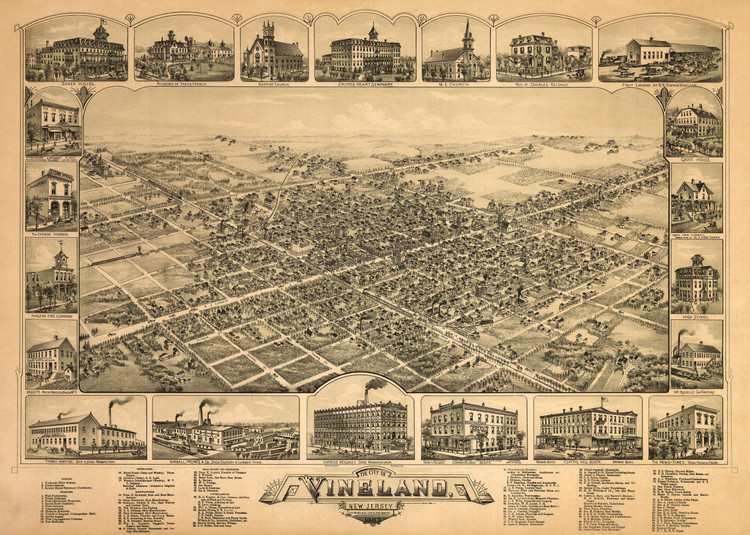 Historic Map - Vineland, NJ - 1885