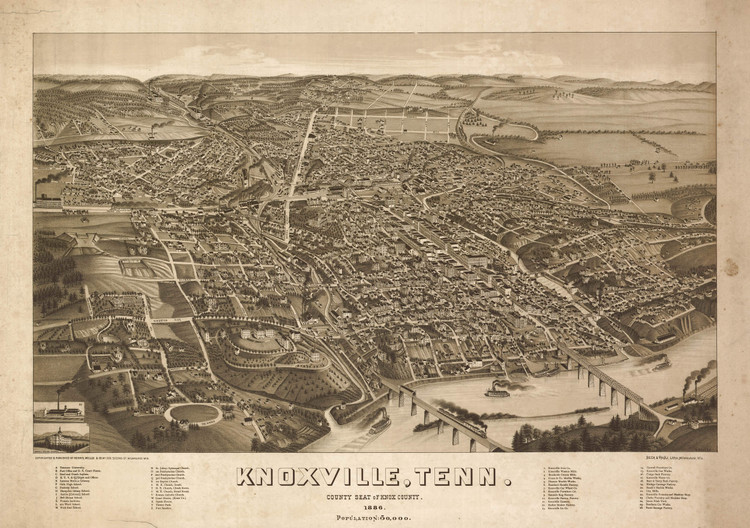 Historic Map - Knoxville, TN - 1886