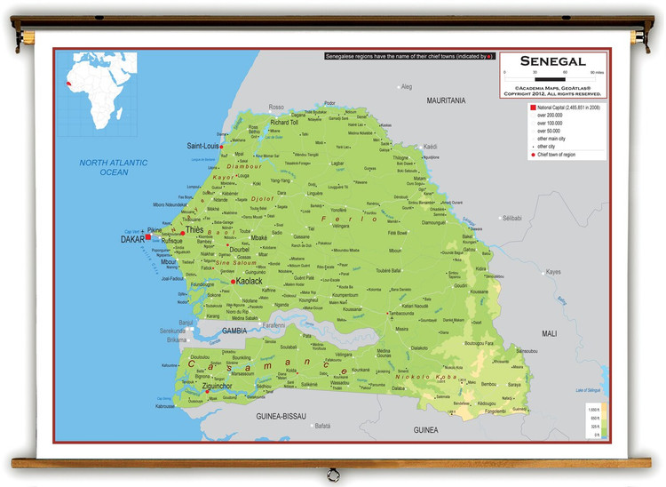 Senegal Physical Educational Map from Academia Maps