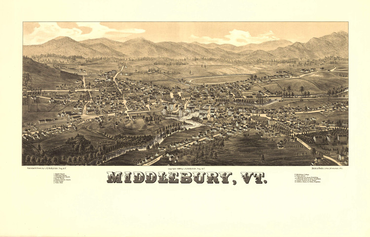 Historic Map - Middlebury, Vermont - 1886