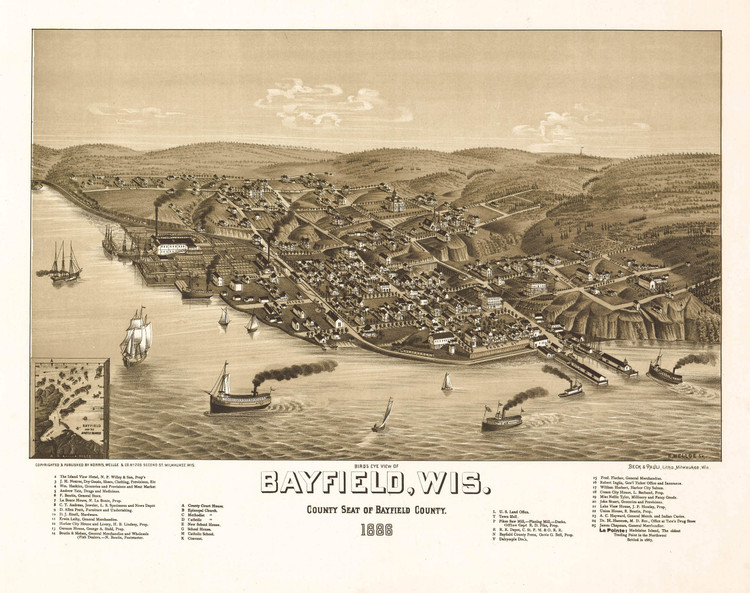 Historic Map - Bayfield, WI - 1886