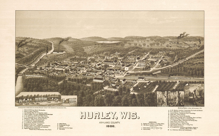 Historic Map - Hurley, WI - 1886