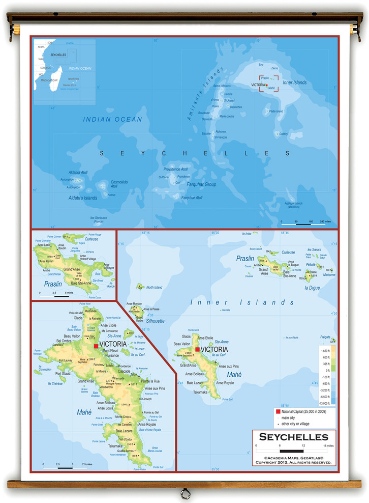 Seychelles Physical Educational Map from Academia Maps
