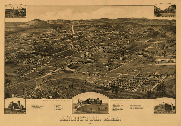 Historic Map - Anniston, AL - 1887