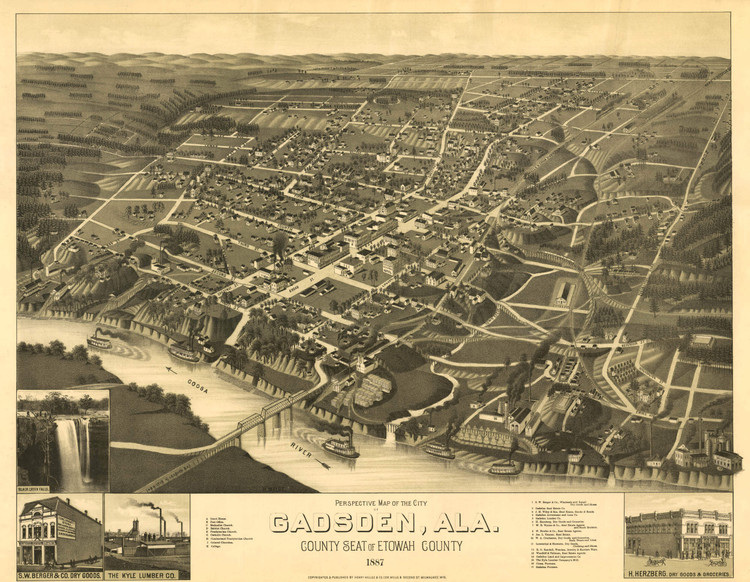 Historic Map - Gadsden, AL - 1887