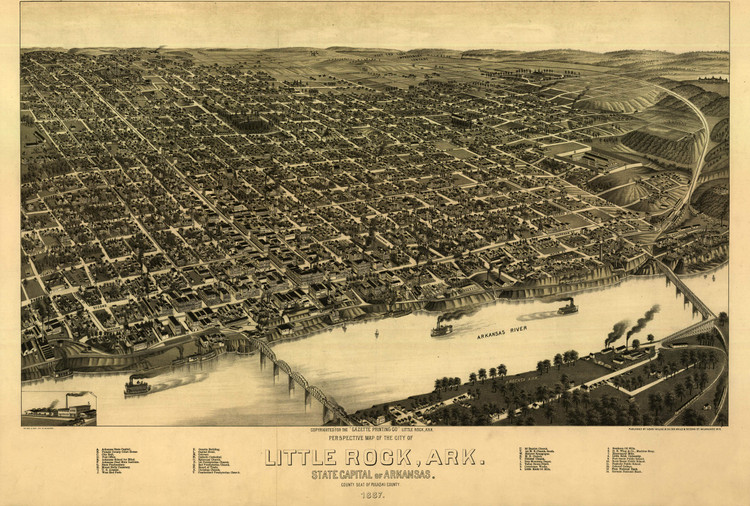 Historic Map - Little Rock, AR - 1887