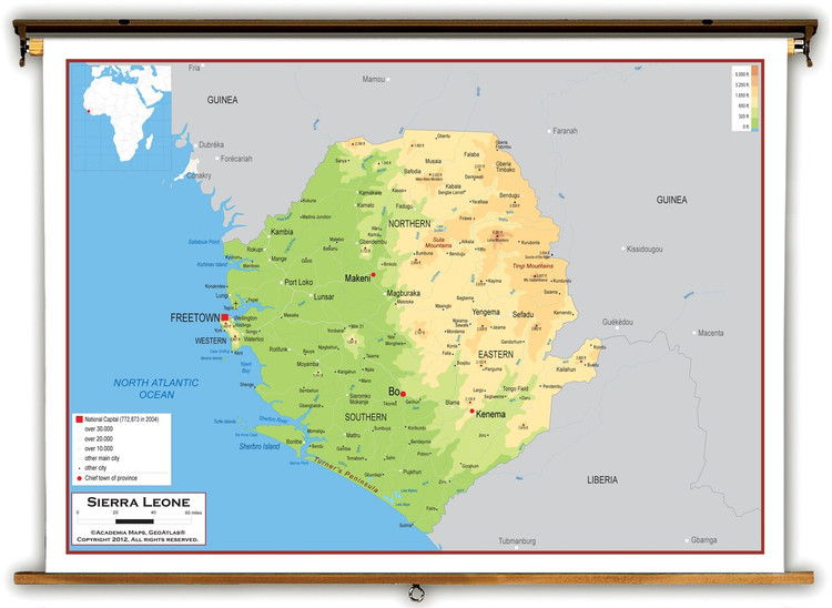 Sierra Leone Physical Educational Map from Academia Maps