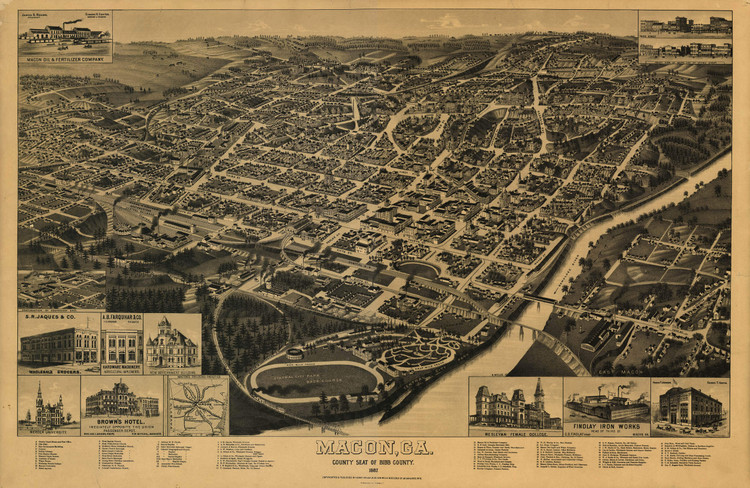 Historic Map - Macon, GA - 1887