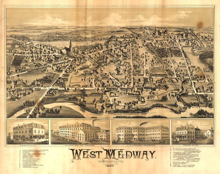 Historic Map - West Medway, MA - 1887