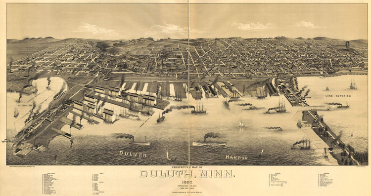 Historic Map - Duluth, MN - 1887